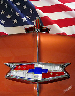 1954 Chevrolet Hood Emblem Art Print by Peter Piatt