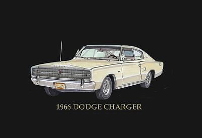 Painting - 1966 Dodge Charger by Jack Pumphrey