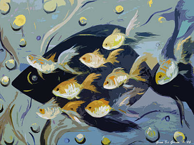 Painting - 8 Gold Fish by Gina De Gorna