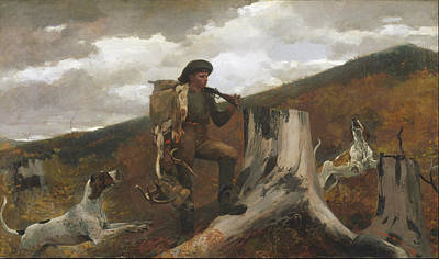 Fisherman Painting - A Huntsman And Dogs by Celestial Images