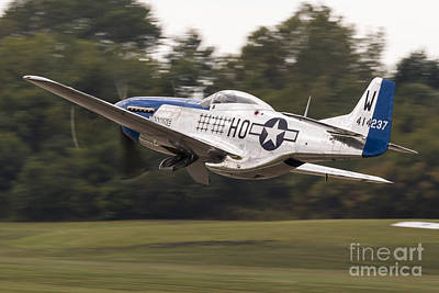 Waukegan Photograph - A P-51 Mustang Takes Off From Waukegan by Rob Edgcumbe