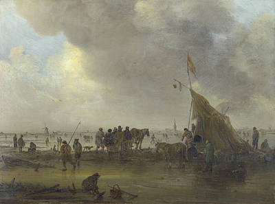 Standard Painting - A Scene On The Ice by Jan van Goyen