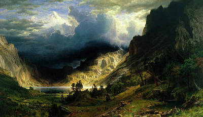 Rocky Painting - A Storm In The Rocky Mountains by Albert Bierstadt
