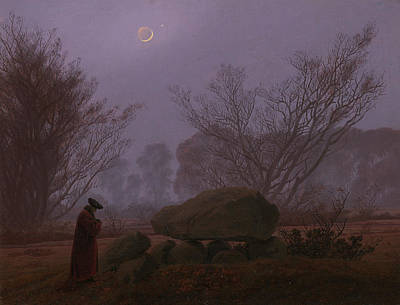 Moon Walk Painting - A Walk At Dusk by Caspar David Friedrich