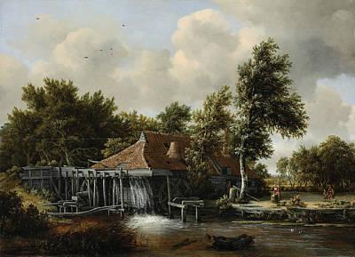 Meindert Hobbema Painting - A Watermill by Meindert Hobbema