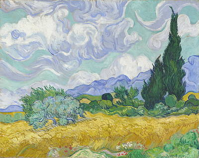 A Wheatfield, With Cypresses  Art Print