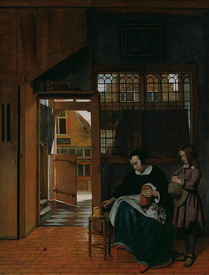 Painting - A Woman Preparing Bread And Butter For A Boy by Pieter de Hooch