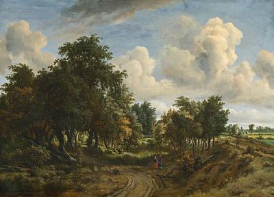 Meindert Hobbema Painting - A Wooded Landscape by Meindert Hobbema