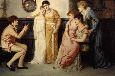 Youth Painting - A Youth Relating Tales To Ladies by Simeon Solomon