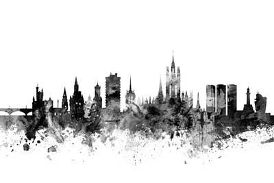 Great Britain Digital Art - Aberdeen Scotland Skyline by Michael Tompsett