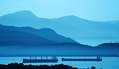 Photograph - Abstract Mountain Range Silhouette by Songquan Deng