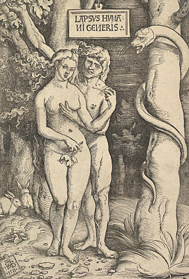 Relief - Adam And Eve by Hans Baldung Grien