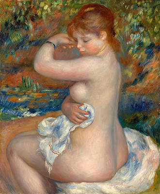 Outdoor Nude Painting - After The Bath by Pierre-Auguste Renoir