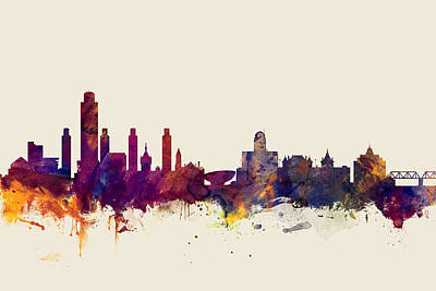 Albany Digital Art - Albany New York Skyline by Michael Tompsett
