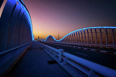 Photograph - Amazing Night Dubai Vip Bridge With Beautiful Sunset. Private Ro by Marek Kijevsky