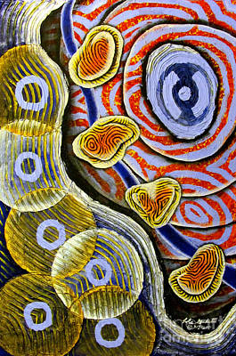 Painting - 4 Amoebas In The Ocean by Luke Galutia