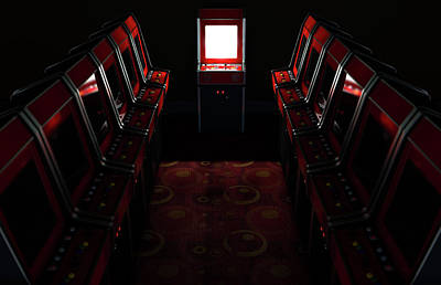 Arcade Aisle With One Illuminated  Print by Allan Swart