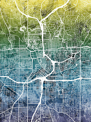 City Map Wall Art - Digital Art - Atlanta Georgia City Map by Michael Tompsett