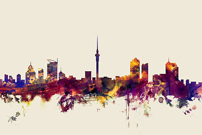 Auckland New Zealand Skyline Print by Michael Tompsett