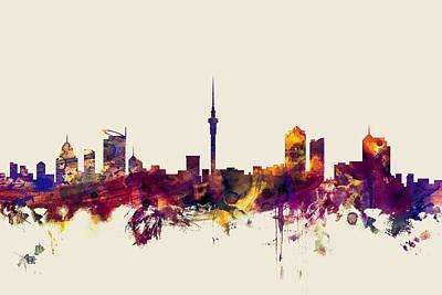 New Zealand Digital Art - Auckland New Zealand Skyline by Michael Tompsett