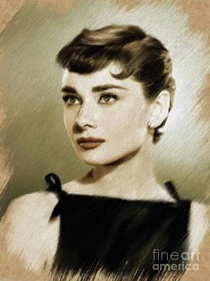Actors Paintings - Audrey Hepburn, Vintage Actress by Mary Bassett