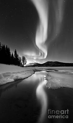 Black And White Photograph - Aurora Borealis Over Sandvannet Lake by Arild Heitmann
