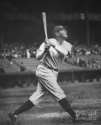 New York Yankees Photograph - Babe Ruth  by American School
