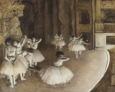 Ballet Rehearsal On Stage Art Print by Edgar Degas