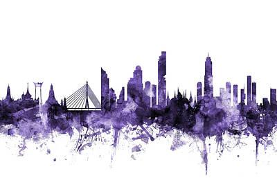 Digital Art - Bangkok Thailand Skyline by Michael Tompsett