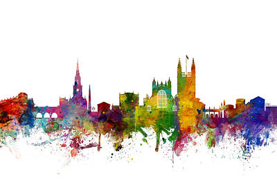 Great Britain Digital Art - Bath England Skyline Cityscape by Michael Tompsett