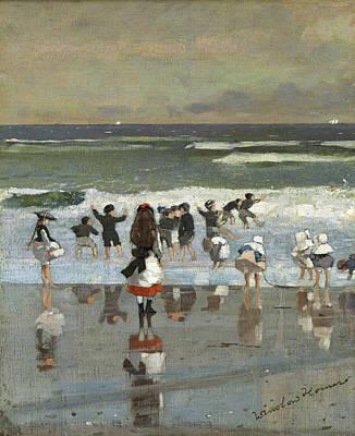Winslow Homer Painting - Beach Scene by Winslow Homer