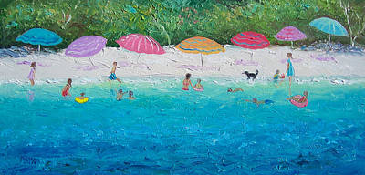 Children Playing On Beach Painting - Beach Umbrellas by Jan Matson