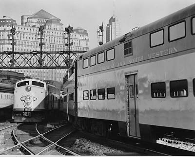 Photograph - Bilevel Trains In Chicago - 1961 by Chicago and North Western Historical Society
