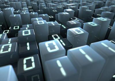 Language Digital Art - Binary Code Pixels by Allan Swart