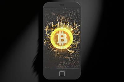 Numbers Digital Art - Bitcoin Cloner Smartphone by Allan Swart