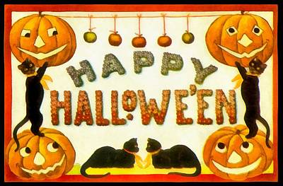 Photograph - 4 Black Cats Happy Halloween by Unknown