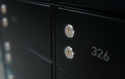 Numbers Digital Art - Black Safe Deposit Box Wall by Allan Swart