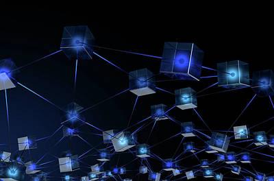 Blockchain Data Network Art Print