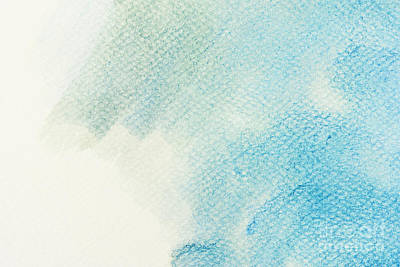 Ink Photograph - Blue Watercolor Paint On Canvas. Abstract Art Background by Michal Bednarek