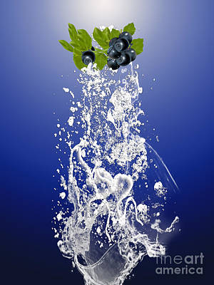 Blueberry Splash Art Print by Marvin Blaine