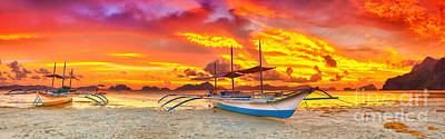 Boat At Sunset Art Print by MotHaiBaPhoto Prints