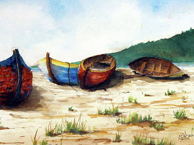 Donny Painting - 4 Boats by Don Seib