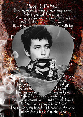 Rock And Roll Mixed Media - Bob Dylan Art by Marvin Blaine
