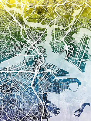 Street Digital Art - Boston Massachusetts Street Map by Michael Tompsett