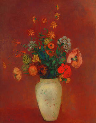 Art Print featuring the painting Bouquet In A Chinese Vase by Odilon Redon