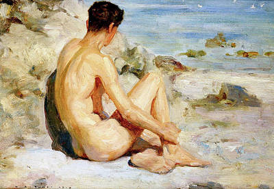 Painting - Boy On A Beach by H Tuke