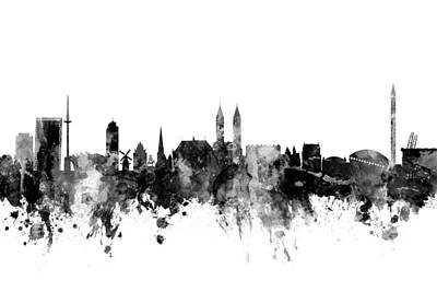 Digital Art - Bremen Germany Skyline by Michael Tompsett