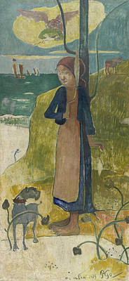 Breton Painting - Breton Girl Spinning by Paul Gauguin