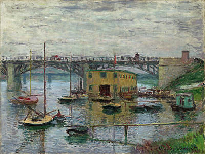 Painting -  Bridge At Argenteuil On A Gray Day by Claude Monet