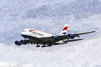 Airways Digital Art - British Airways Airbus A380 Art by David Pyatt